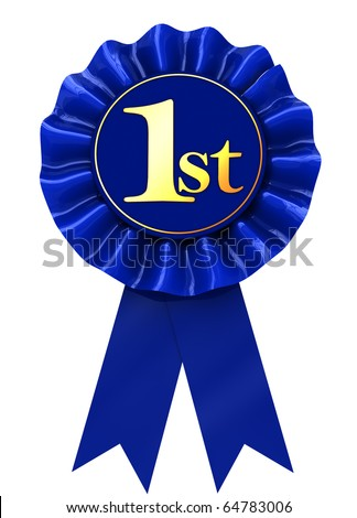 3d illustration of first place blue ribbon over white background - stock photo