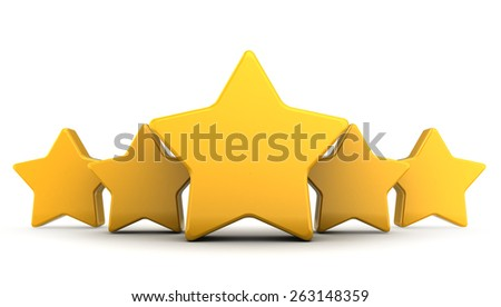3d illustration of five yellow stars over white background - stock photo