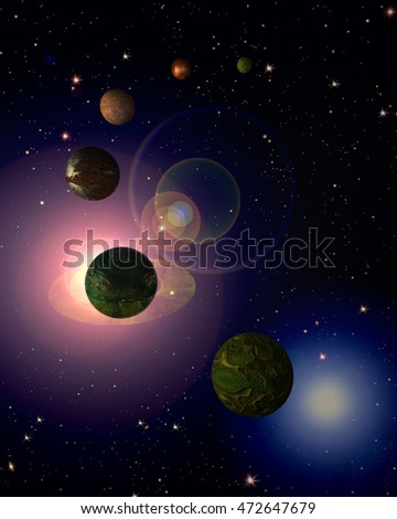 3d illustration of fluctuating planets in the space