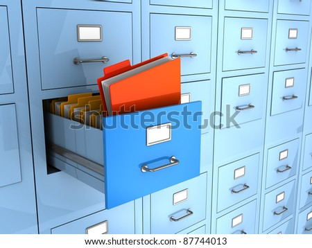 3d illustration of folder find in big archive cabinet - stock photo