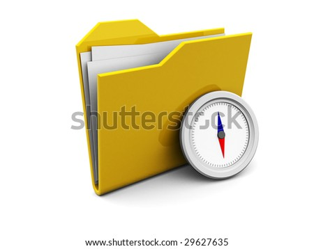 3d illustration of folder icon or symbol with compass