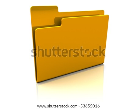 3d illustration of folder icon over white background with reflection