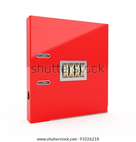 3d illustration of folder icon with combination lock - stock photo