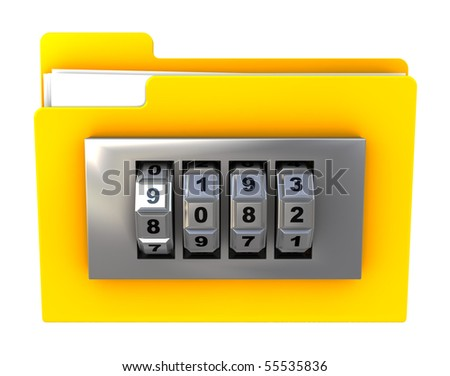 3d illustration of folder icon with combination lock, isolated over white - stock photo