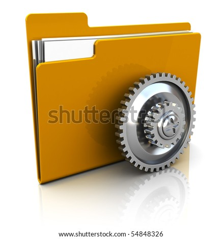 3d illustration of folder icon with gear wheel, over white background