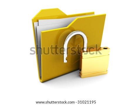 3d illustration of folder icon with opened lock