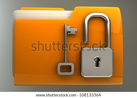 3d illustration of folder icon with security lock dial High resolution