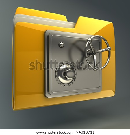 3d illustration of folder icon with security lock dial  High resolution 3D - stock photo