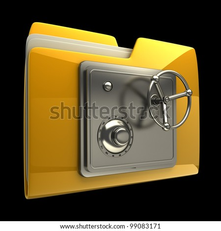 3d illustration of folder icon with security lock dial isolated on black background High resolution 3D - stock photo
