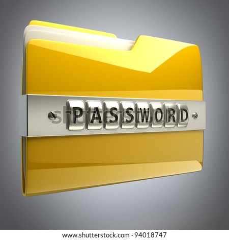 3d illustration of folder icon with security password High resolution 3D  , - stock photo