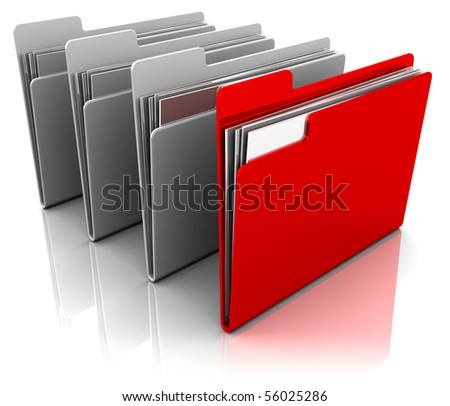 3d illustration of folder icons row with one selected - stock photo