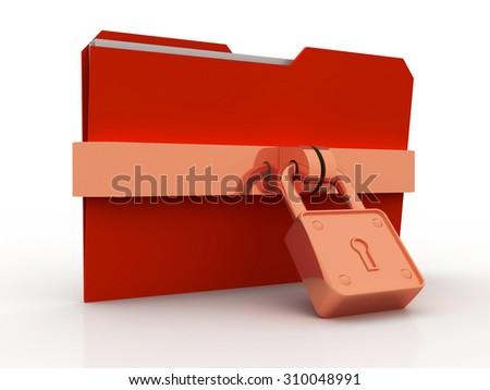 3d illustration of folder locked - stock photo