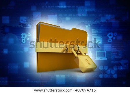 3d illustration of folder locked - stock photo