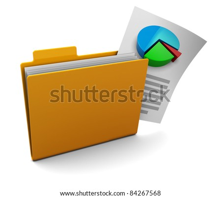 3d illustration of folder with business report - stock photo