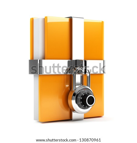 3d illustration of folder with combination lock. Isolated on white background - stock photo