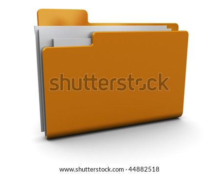 3d illustration of folder with documents icon