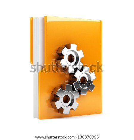 3d illustration of folder with gears. Isolated on white background - stock photo