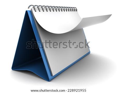 3d illustration of folding calendar with blank pages - stock photo