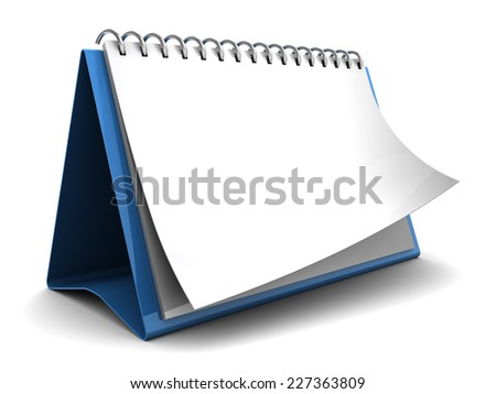 3d illustration of folding calendar with blank pages, over white background - stock photo