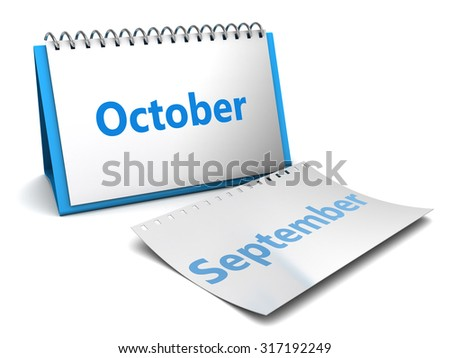 3d illustration of folding calendar with october month page - stock photo