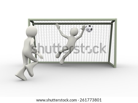 3d illustration of football soccer player shooting ball into goal gate while goal keeper trying to stop it. 3d human person character and white people - stock photo