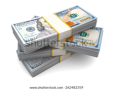 3d illustration of four money stacks over white background - stock photo