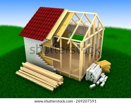 3d illustration of frame house building, summer grass and sky background - stock photo