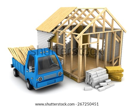 3d illustration of frame house construction and small truck - stock photo