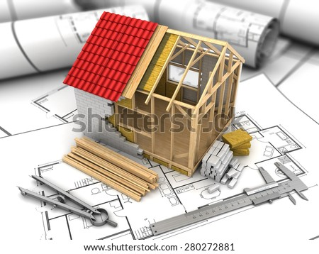 3d illustration of frame house model over blueprints background - stock photo