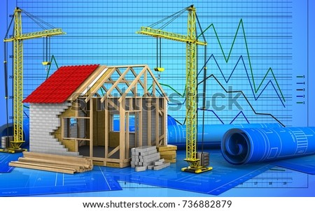 3d illustration of frame house with crane over graph background