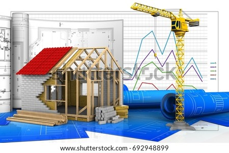 3d illustration of frame house with drawings over business graph background