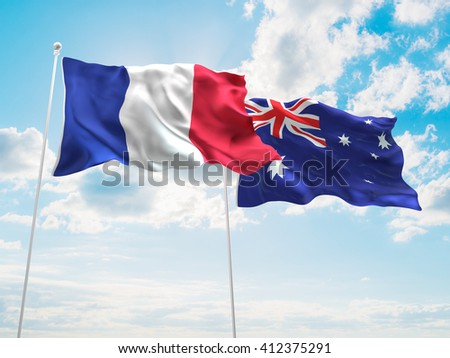 3D illustration of France & Australia Flags are waving in the sky - stock photo