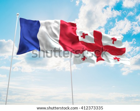 3D illustration of France & England Flags are waving in the sky
