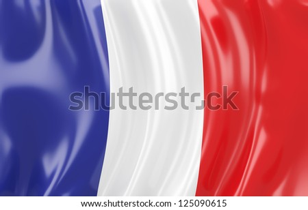 3d illustration of France flag. Wavy texture