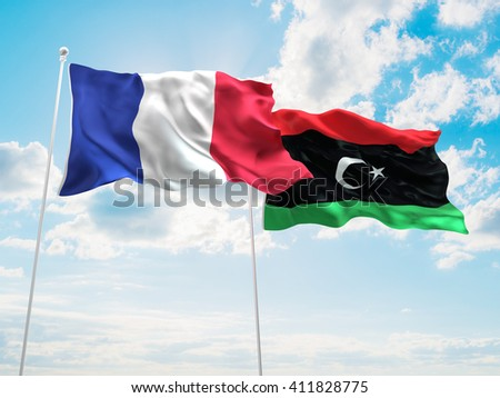3D illustration of France & Libya Flags are waving in the sky - stock photo