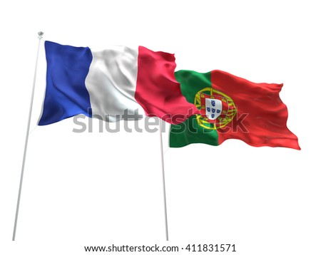 3D illustration of France & Portugal Flags are waving on the isolated white background
