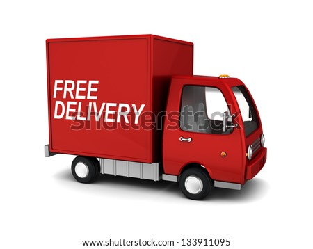 3d illustration of free delivery truck, over white background - stock photo