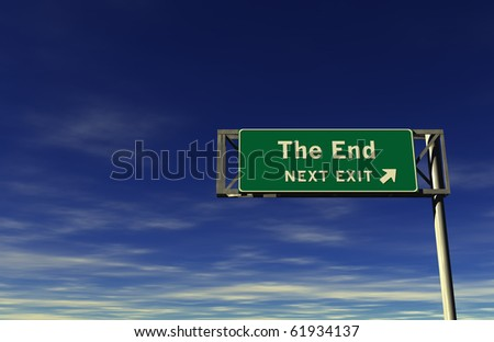 3D Illustration of freeway sign, next exit... The End!