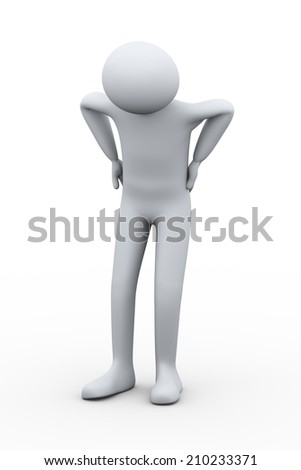 3d illustration of front pose of man with back pain holding his back with hands. 3d rendering of human people character. - stock photo