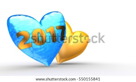 3d illustration of frozen heart over white  background with another orange and 2017 year sign