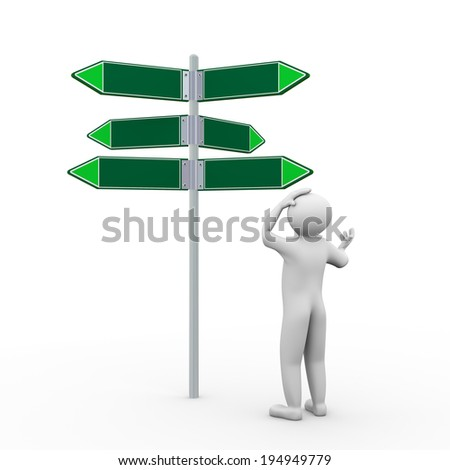 3d illustration of frustrated confused person in front of empty blank road signs. 3d human person character and white people.  - stock photo