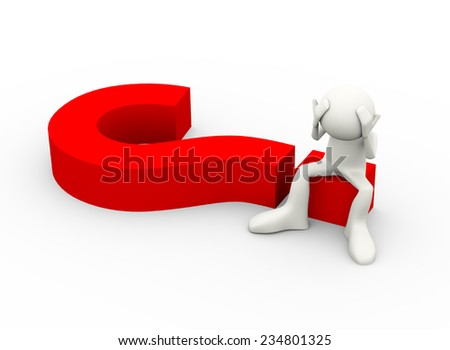 3d illustration of frustrated of person with hands on his head sitting on big question mark. 3d human person character and white people - stock photo