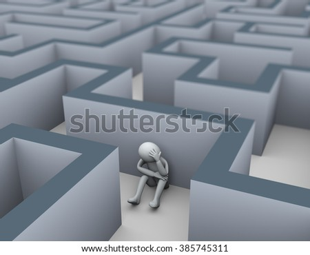 3d illustration of frustrated unhappy sad man sitting maze puzzle labyrinth. 3d rendering of people - human character. - stock photo