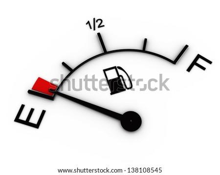 3d illustration of fuel gauge showing low level - stock photo