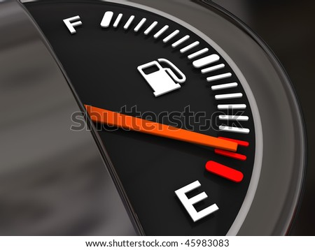 3d illustration of fuel gauge with low fuel alert