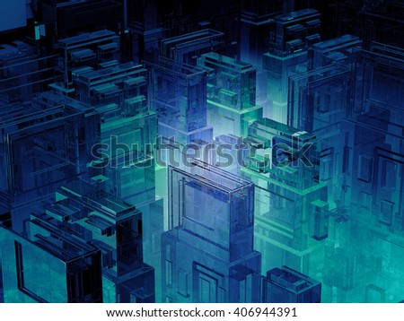3d illustration of futuristic micro chip city. Computer science information technology background. Sci fi megalopolis. - stock photo