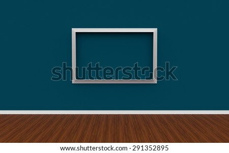 3D illustration of gallery interior with empty photo frame