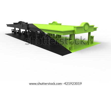 3d illustration of gas station. simple to use. on white background isolated with shadow. icon for game or web. eco building. expensive purchase. black and green colors. - stock photo