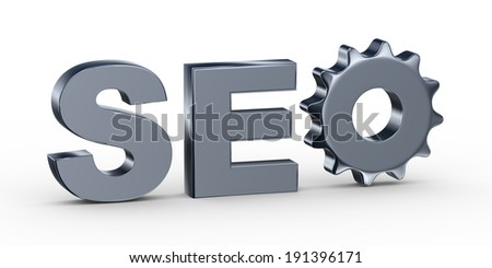 3d illustration of gear in abbreviation seo - Search engine optimization