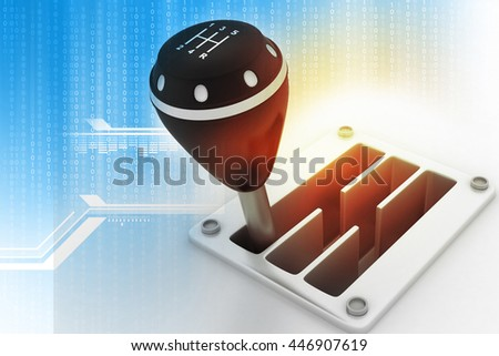 3d illustration of Gear stick on tech background - stock photo
